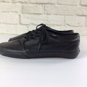 All Black Leather Vans low profile sneakers